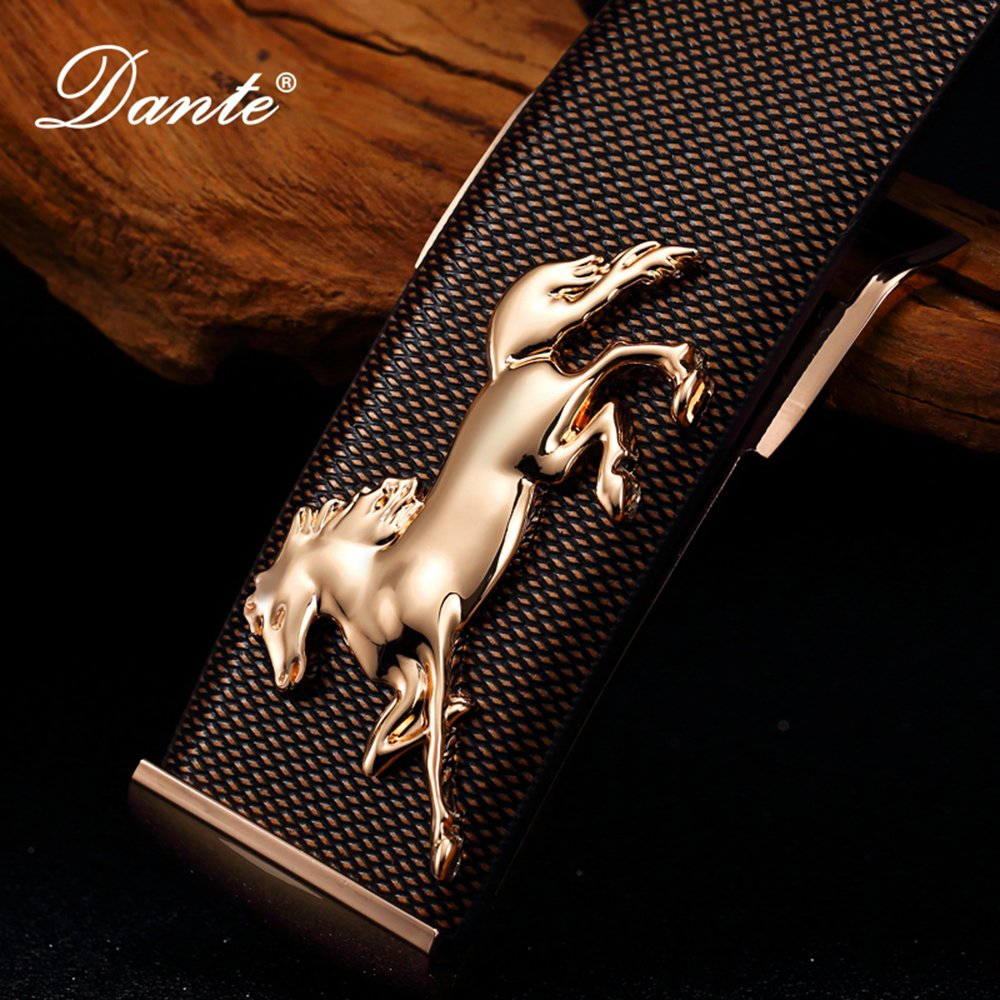 Dante Mens Real Leather Fashion Horse Belt with Slide Buckle