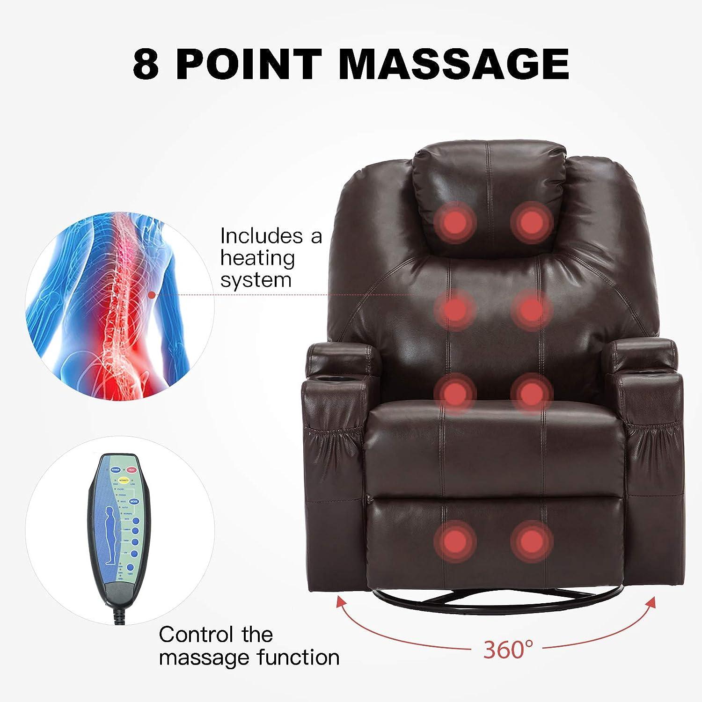 Mecor PU Leather Swivel Rocker Recliner Massage Chair