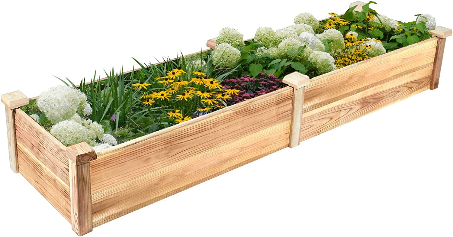 GADI Raised Garden Bed, Natural Rot-Resistant Wood Garden Bed Planter for Vegetables, Grass, Outdoor (7×2 ft.)