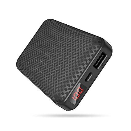 Mini Portátil Power Banks,Bateria Externa 10000mah,Cargador Portátil Movil con 2.1 Puertos Salidas USB Alta Velocidad,Pantalla LED de Potencia,9 ...