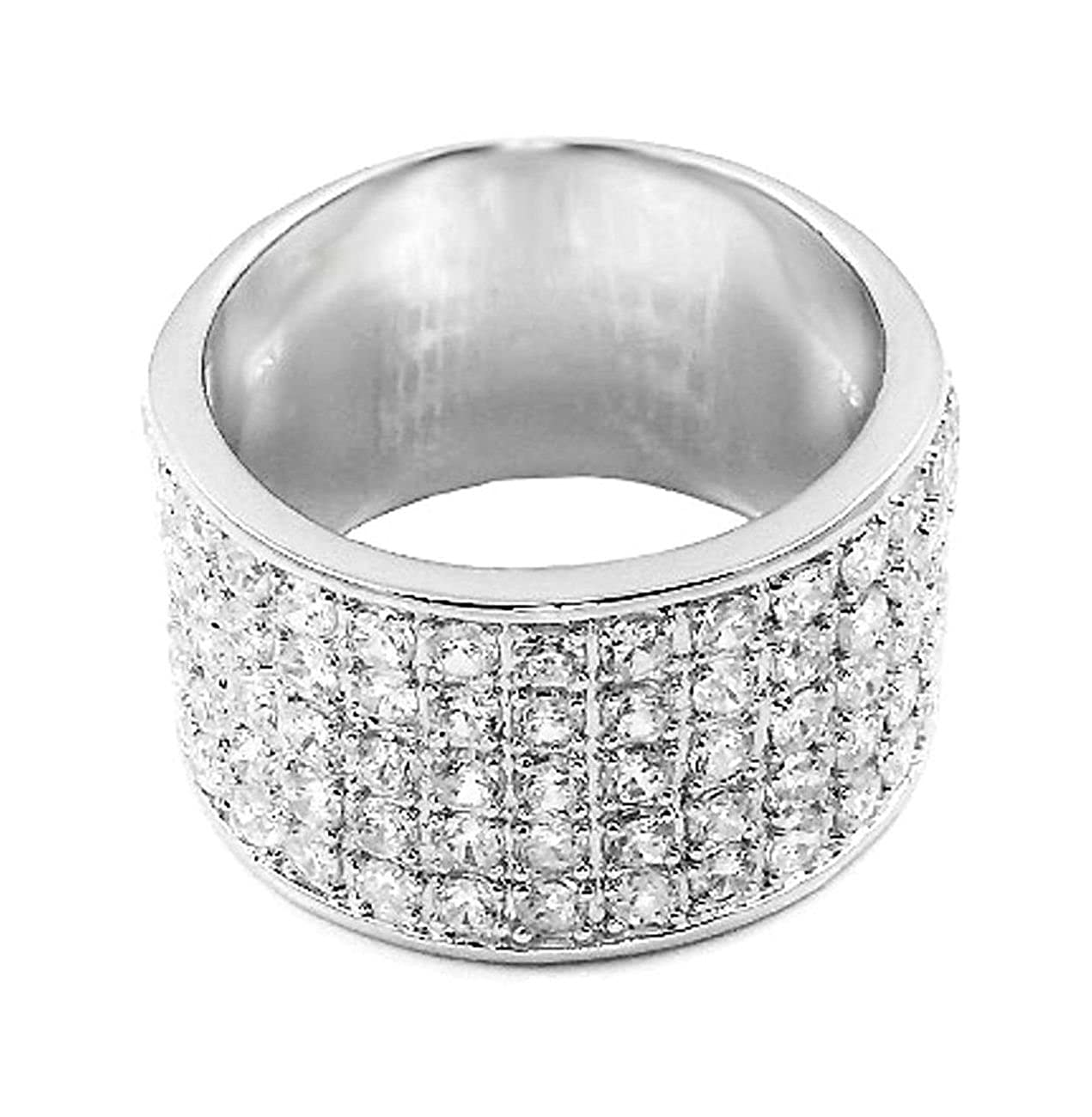 15 mm Wide mens ring designer Round cut Solid 925 Silver