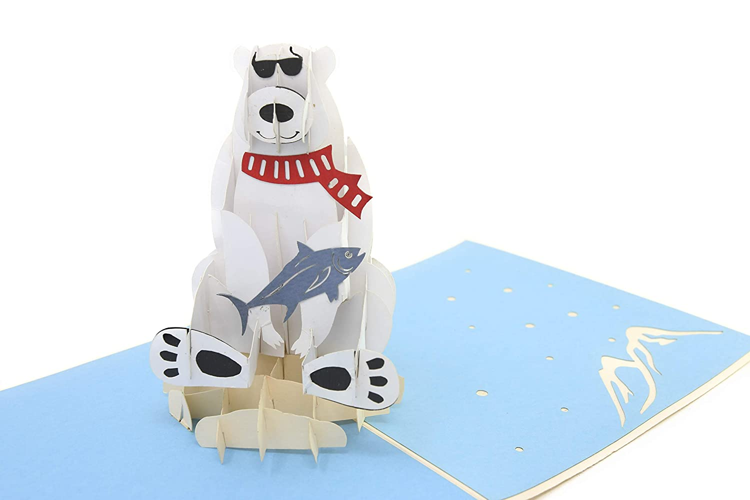 PopLife Polar Bear & Fish Animal Pop Up Card For All Occasions - Happy Birthday Cards PopLife Cards
