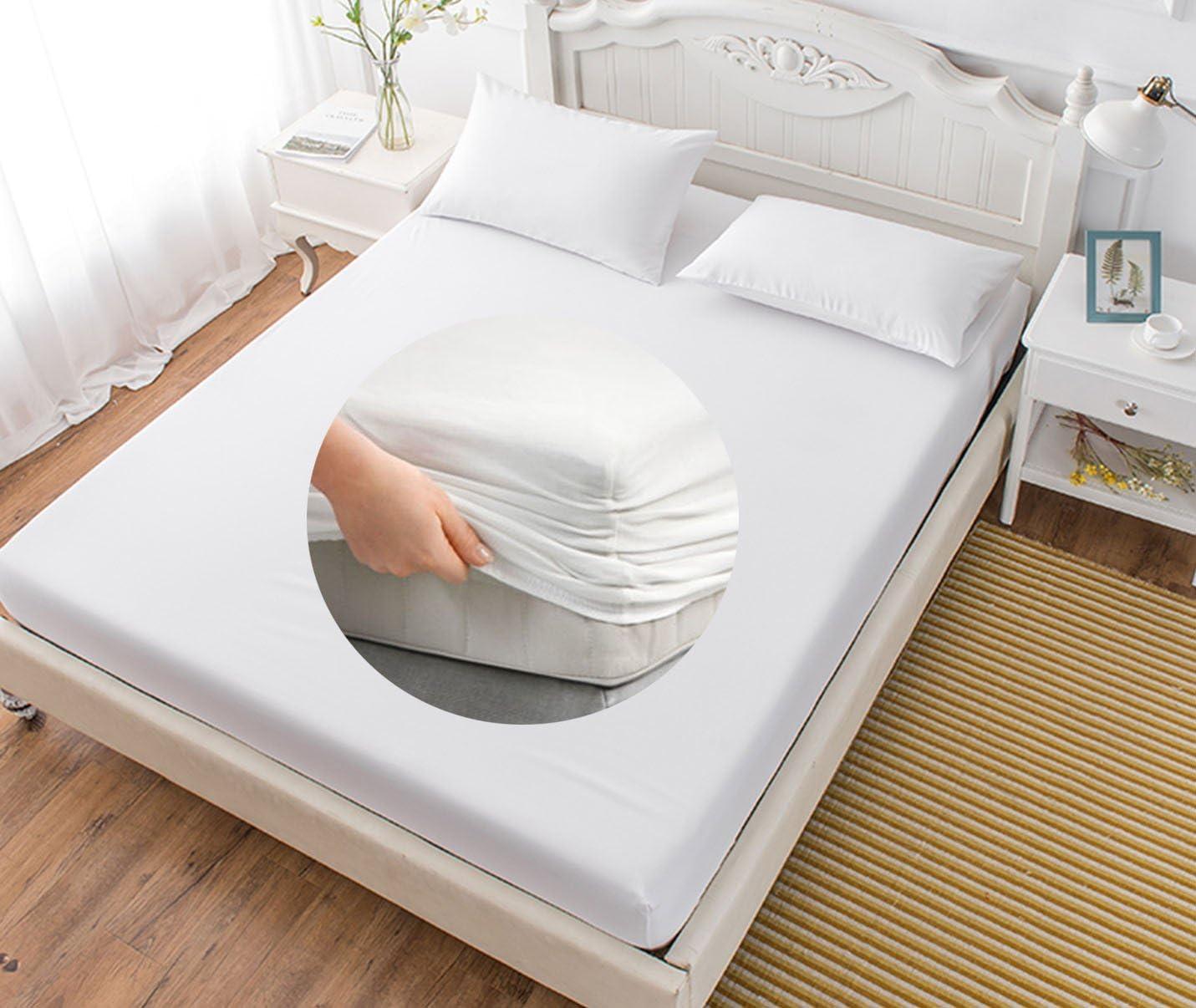 EM HOME S/ábana Bajera Ajustable el/ástica 50/% algod/ón y 50/% poli/éster Color Blanco 135x190cm