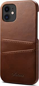 XRPow Wallet Case Compatible with iPhone 12, for iPhone 12 Pro Credit Card Holder, Slim PU Leather Back Protective Case Wallet Card Pocket Cover for iPhone 12/12 Pro 6.1inch - Brown