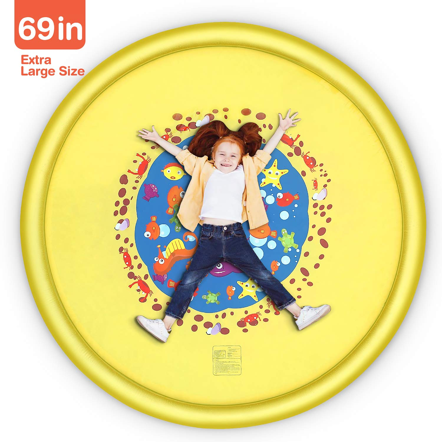 Splash Pad, 69 Inches No More Burst Sprinkle and Splash Play Mat Sprinkler for Kids Boys Girls Fun Splash Play Mat Summer Outdoor Sprinkler Pad Party Water Toys Extra Large Children's Sprinkler Pool by tomser (Image #6)