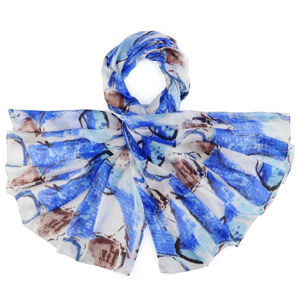 38235fa96ea Allée du foulard Etole soie Coimbra Bleu