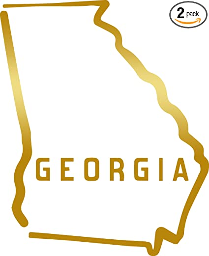 Outline Of Georgia Map.Amazon Com Angdest Georgia State Map Outline Metallic Gold Set