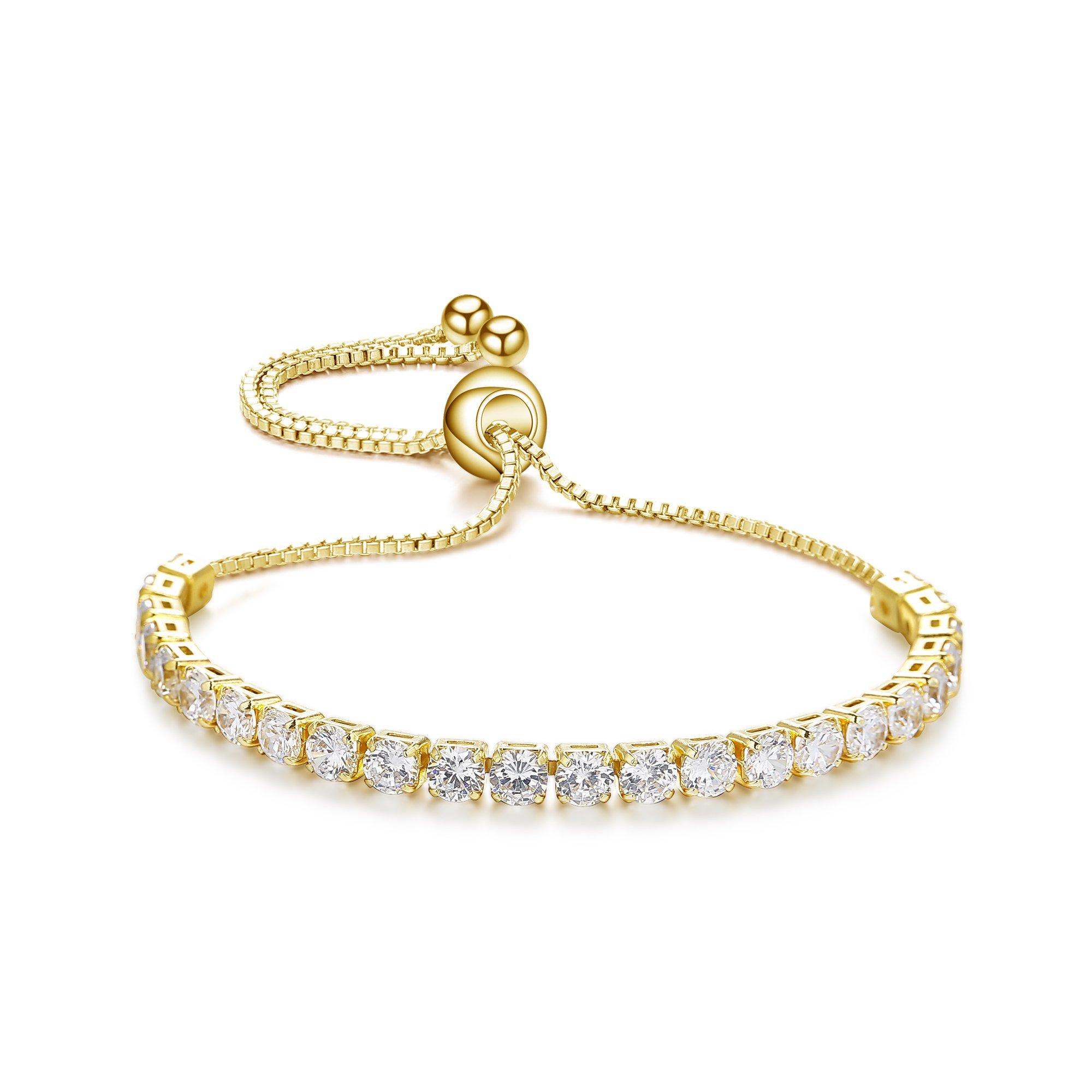 ASHMITA Fashion Adjustable Chain Bracelet for Women,Cubic Zirconia 18K Gold Gift Bracelet of Luxury Shining Jewelry