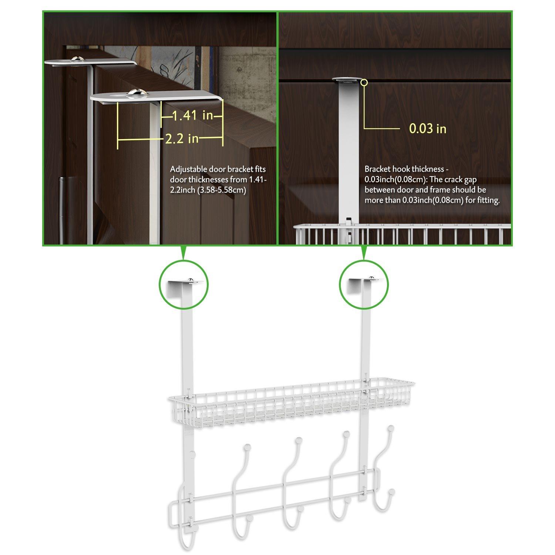 Lifewit Over the Door Hook Rack Hanger Fit for 3.58-5.58cm Door ...