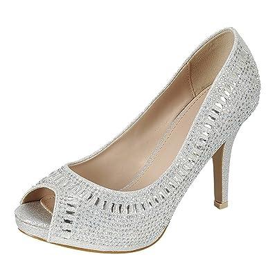 Cambridge Select Women's Peep Toe Crystal Rhinestone Beaded Stiletto High Heel Dress Pump | Shoes