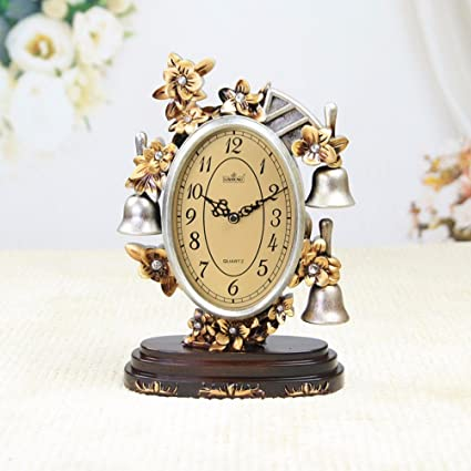 BBSLT Vintage decoraciones hogareñas silenciado movimiento europeo péndulo simple moda relojes antiguos, marrón