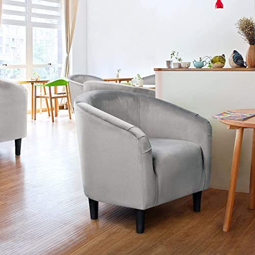 YAHEETECH Velvet Barrel Chair Club Chair Accent Arm Chair Upholstered Barrel Back Living Room Chair Grey