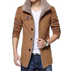 C-Pioneer Men's Slim Parka Fleece Winter Warm Jacket Trench Coat Casual Overcoat (L, Khaki)