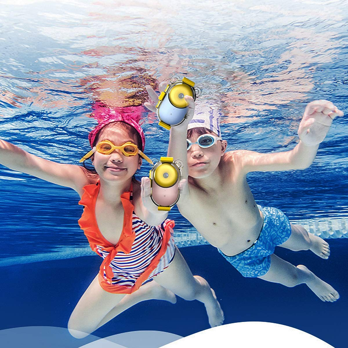 Aegilmc Child Waterproof WiFi Digital Camera, SLR Motion Double Lens Diving Camera, 800MP 1080P Kids Action Camera Sports Camcorder,Pink by Aegilmc (Image #3)