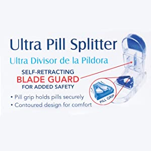 Apex Ultra Pill Cutter - Pill Splitter With Retracting Blade Guard - For Cutting Small Pills or Large Pills In Half (Color: Blue and Clear, Tamaño: 1 Pack)