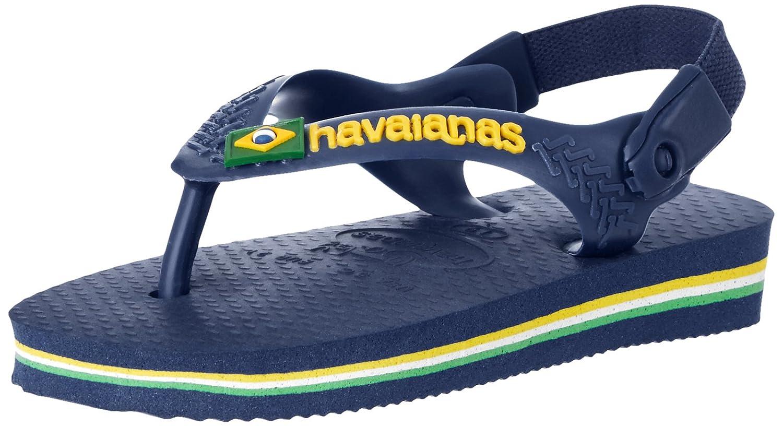 Havaianas Kids' Flip Flop Sandal, Brazil Logo with Backstrap (Infant/Toddler),Navy Blue/Citrus Yellow,23/24 BR