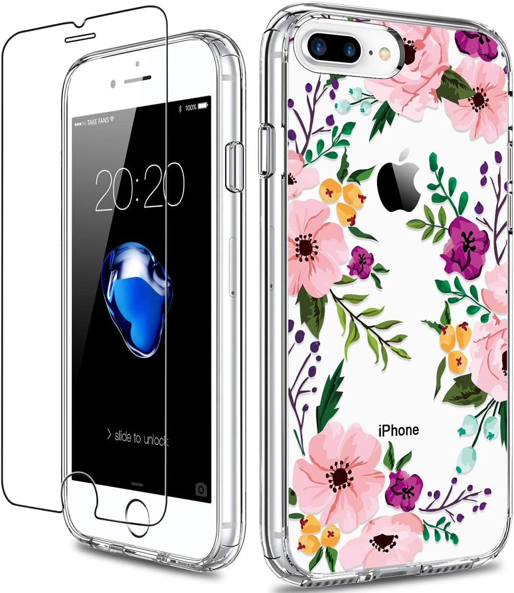 GiiKa iPhone 8 Plus Case, iPhone 7 Plus Case with Screen Protector, Clear Heavy Duty Protective Case Floral Girls Women Hard PC Case with TPU Bumper Cover Phone Case for iPhone 8 Plus, Small Flowers