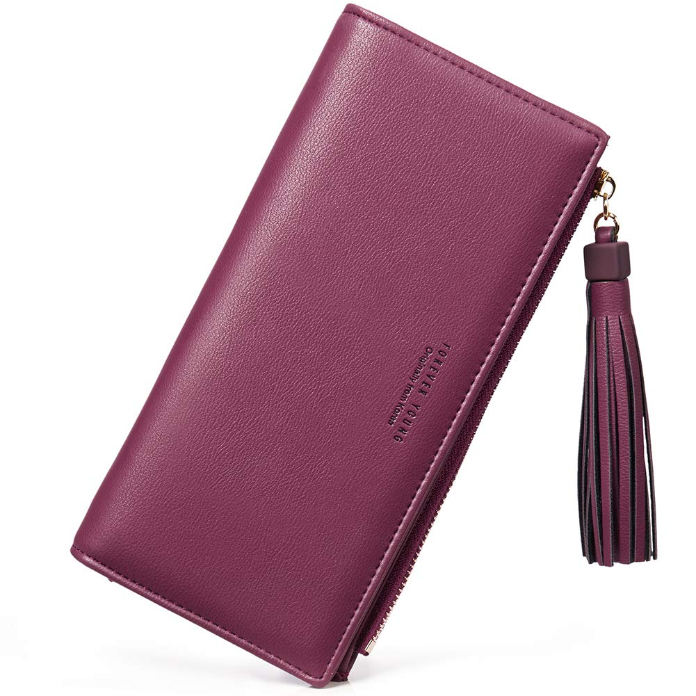 Wallets for Women Fashion Soft Leather Billfold Long Clutch Ladies Credit Card Holder Organizer Purse wine red