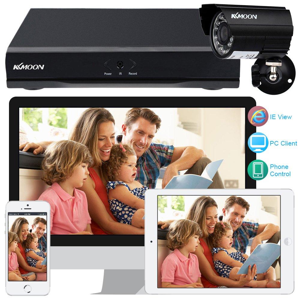 KKmoon Kit Seguridad CCTV 4CH Full AHD 1080N/720P DVR HDMI + 4x 1500TVL Cámara Bala P2P Onvif IR-CUT Visión Nocturna IP66 Android/iOS APP Alarma Email