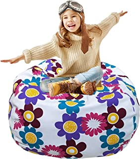 Kids Stuffed Animal Storage Bean Bag Chair With Extra Long Zipper Carrying Handle Large