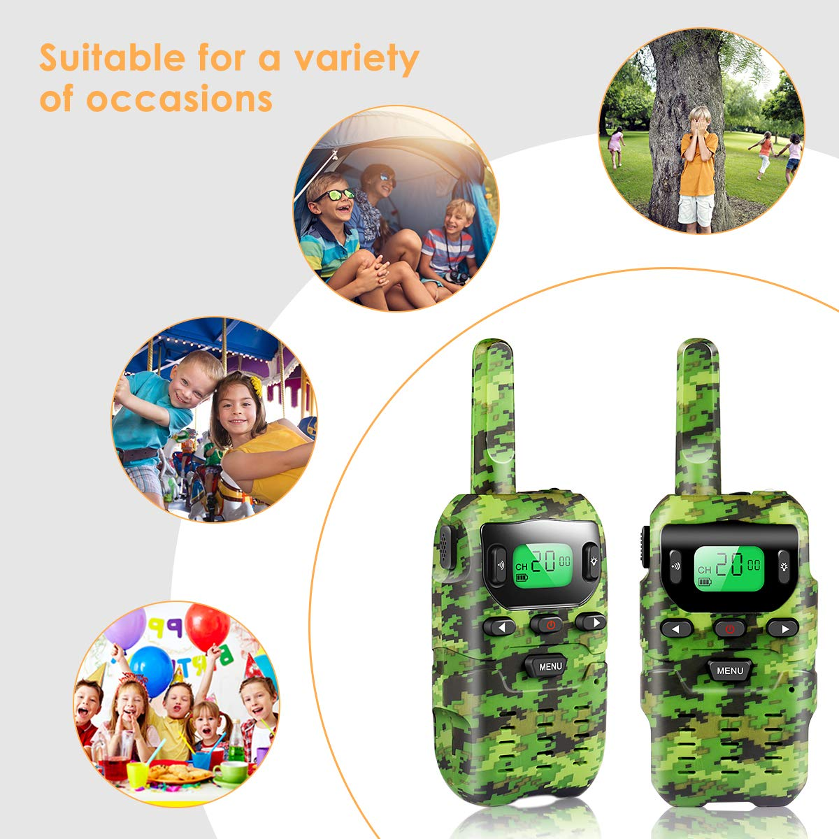 UOKOO Walkie Talkies for Kids, Toys for 3-12 Year Old Boys 22 Channel 3 Mile Long Range Kids Toys and Kids Walkie Talkies, and Top Toys for for 3 4 5 6 7 8 9 Year Old Boy and Girls by UOKOO (Image #6)
