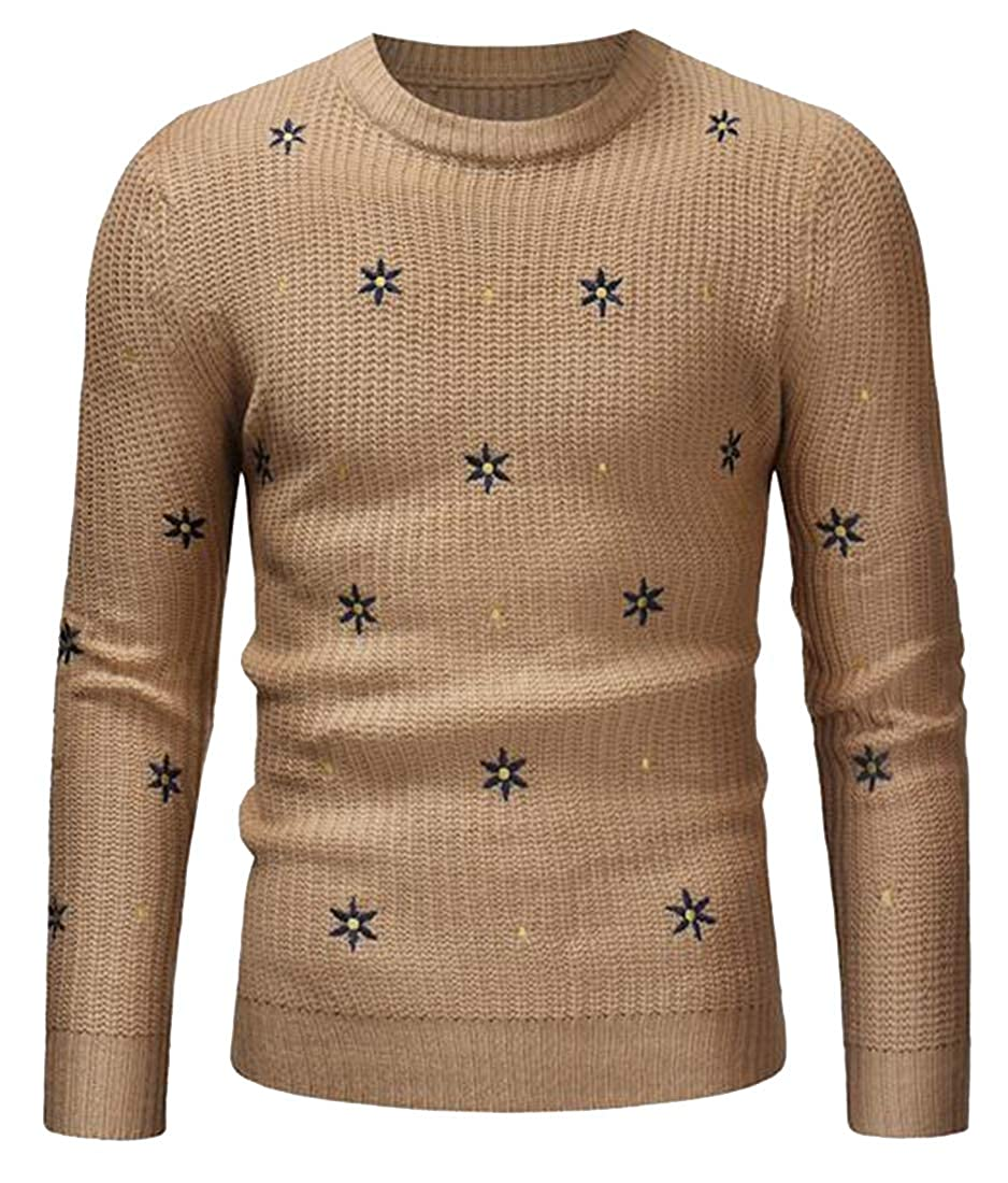 ARTFFEL Mens Fall Winter Regular Fit Round Neck Knitted Warm Pullover Sweater