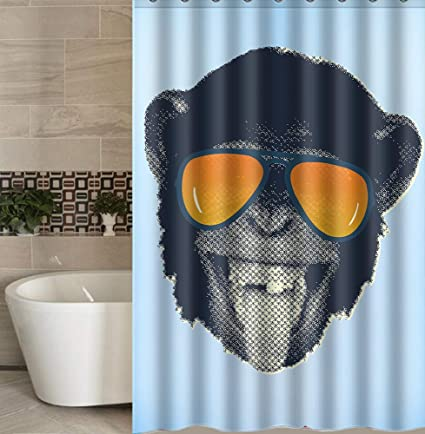 Idgreadecor Shower Curtain Funny Hip Hop Orangutan Fabric 66 X 72 In Black Blue Yellow