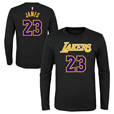 bd7cb6614 Outerstuff Los Angeles Lakers  23 Lebron James Youth L S Climalite Dri-Fit