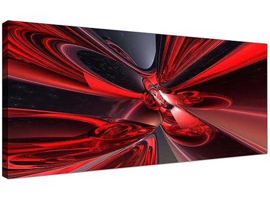 Rouge Abstrait Sur Toile (120 Cm X 50 Cm) - Tableaux Modernes