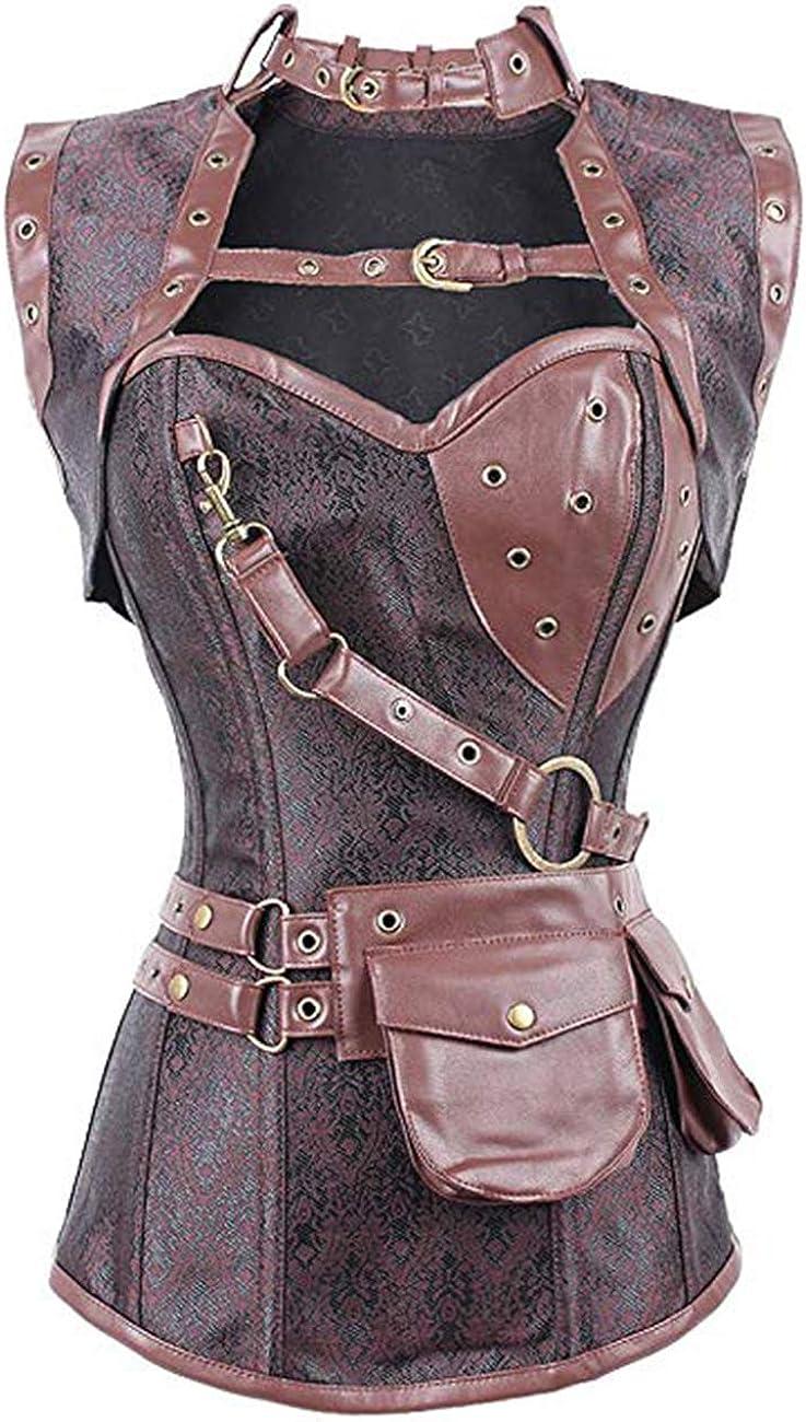 FeelinGirl Corsé Gótico Medieval para Mujer Estilo de Soldado Vintage Brocado Bustier con Tanga