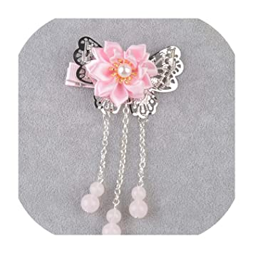 Baby Girls Chinese Style Kids Hair Clip Flower Tassels Hairpin Pearl Accessories