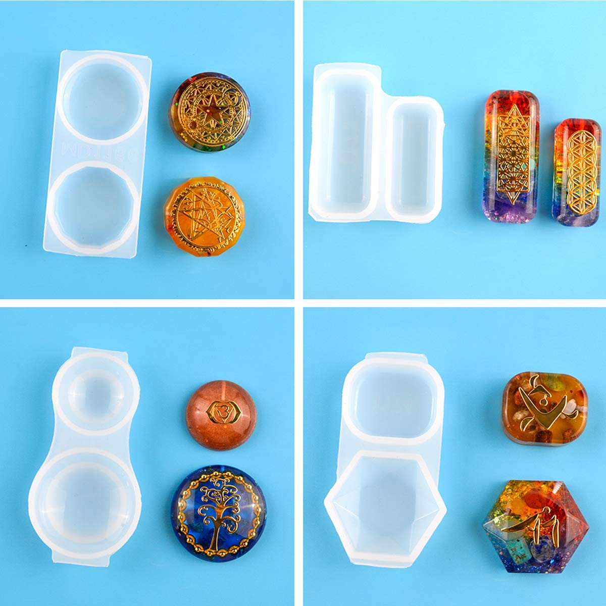 Square Round Jewelry Craft Moulds for Making Necklace Bracelet Craft DIY Resin Casting Molds Epoxy Resin Mold HQdeal 4 Pack Silicone Resin Moulds for Pendant Jewelry Making