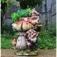 Diseño enano hongo con cabeza de flor NF 15199 32 cm Alto jardín Deko enano figuras enanas decoración varios diseño