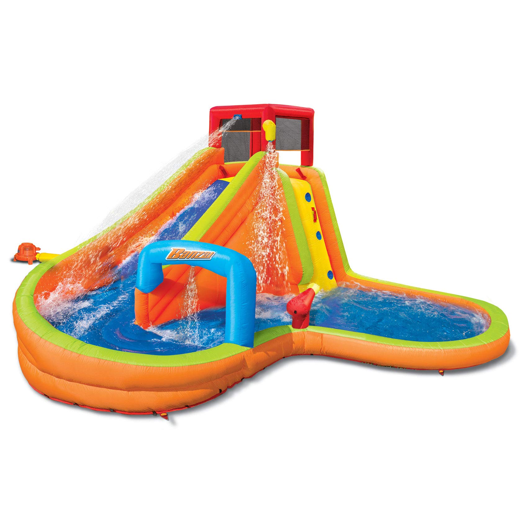 BANZAI Lazy River Inflatable Outdoor Adventure Water Park Slide and Splash Pool by BANZAI