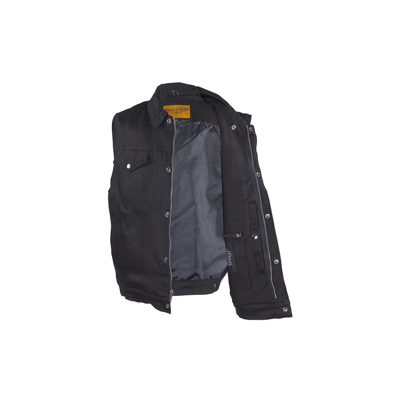 Classic Biker Leather Mens Zippered Black Denim Club Motorcycle Vest Solid Back Fold Down Collar