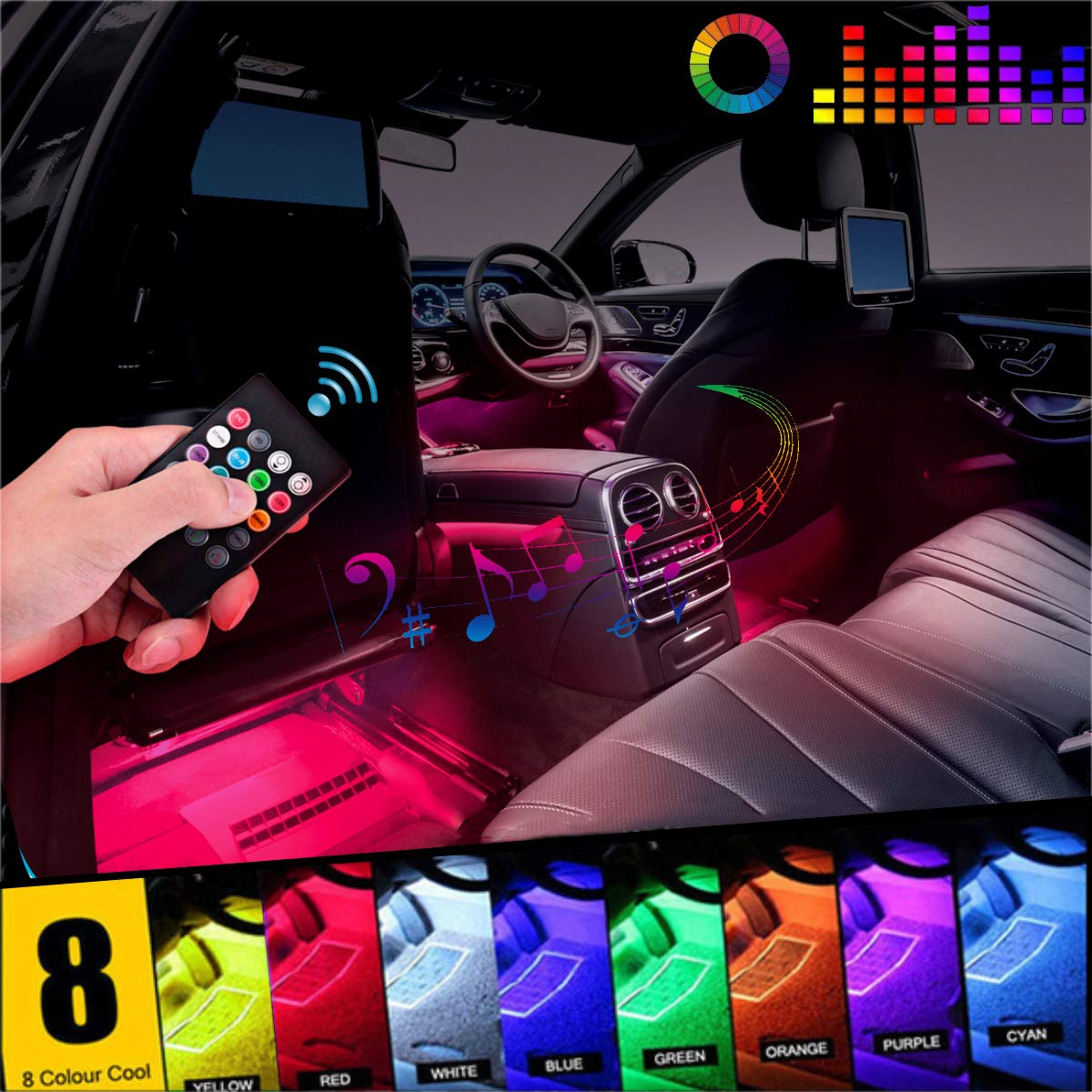 Car LED Strip Light, EJ's SUPER CAR 4pcs 36 LED DC 12V Multicolor Music Car Interior Light LED Under Dash Lighting Kit with Sound Active Function and Wireless Remote Control, Car Charger Included