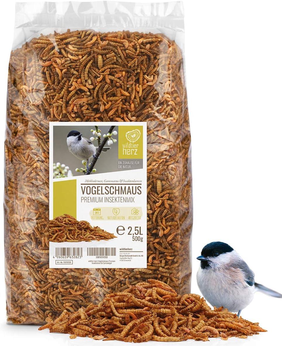 corazón Animal Salvaje I Fiesta de Aves - Mezcla de Insectos Premium 2,5 litros I Gusanos de harina Secos, Larvas de Insectos y Gamarus para pájaros I Gusanos de harina Secos, alpiste