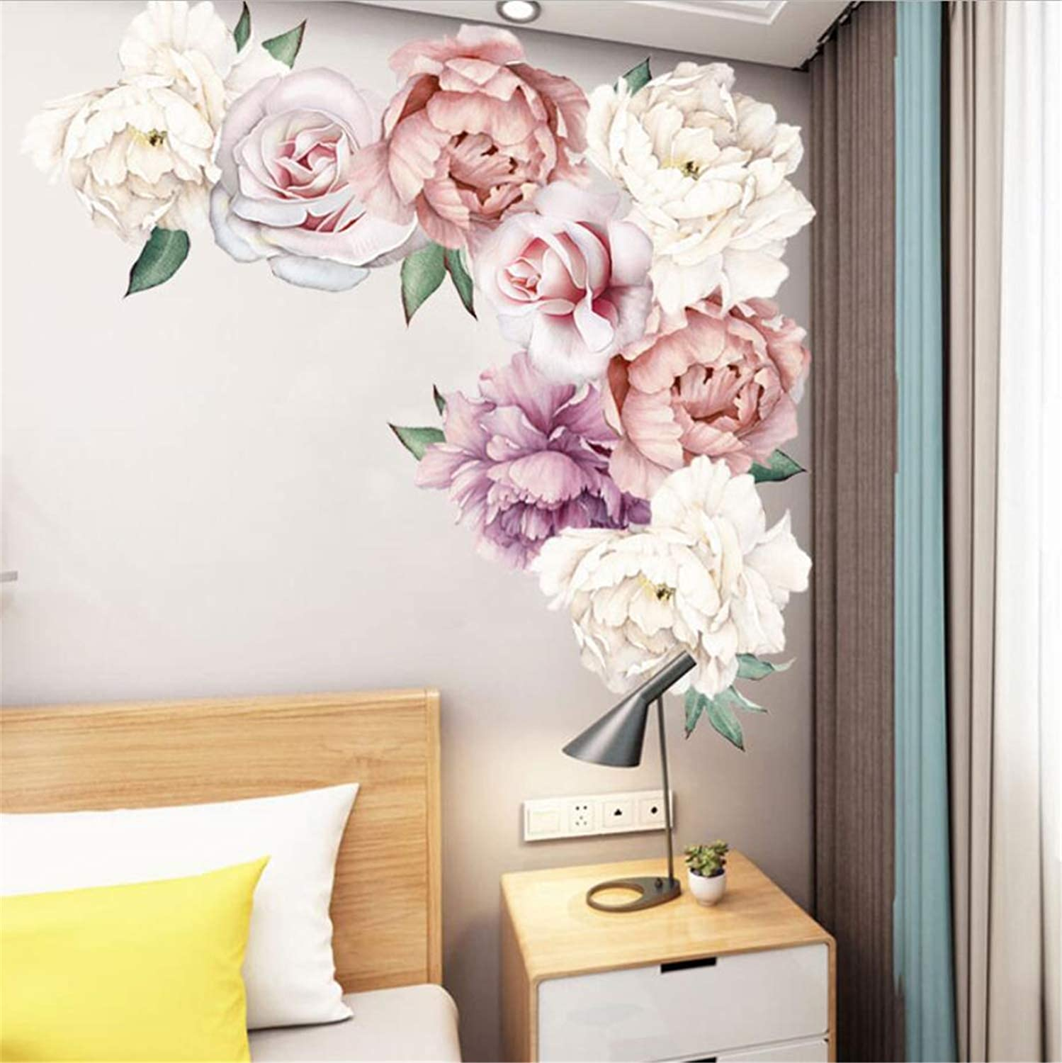 Peony Rose Flowers Wall Stickers Pink Floral Wall Decals Vintage Removable Wall Decor PVC Floral Wall Sticker Mural for Nursery Living Room