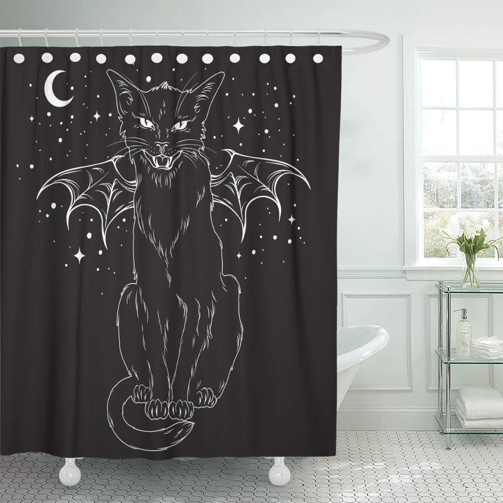 TOMPOP Shower Curtain Creepy Black Cat Monster Wings Over Night Sky Moon Waterproof Polyester Fabric 72 x 72 Inches Set with Hooks