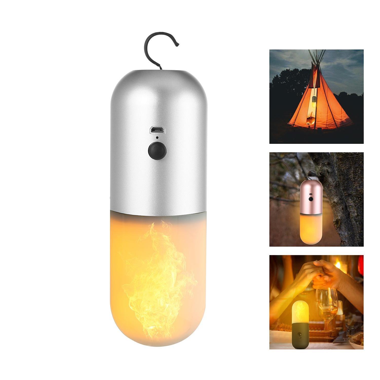 FOONEE - Farol LED para Tienda de Campaña, luz de Campamento, Recargable, LED, Efecto de Llama, para Acampada, Senderismo, Pesca, Navidad, casa, Hotel, Bar, Decoración de Festivales.
