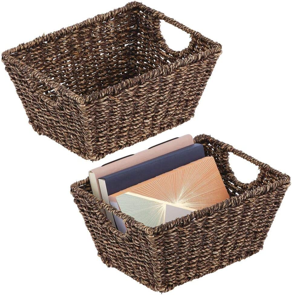 Black Foldable Seagrass Storage Baskets for Household Items Bathroom or Hallway mDesign Set of 2 Wicker Storage Baskets with Handles Wicker Baskets for The Living Room