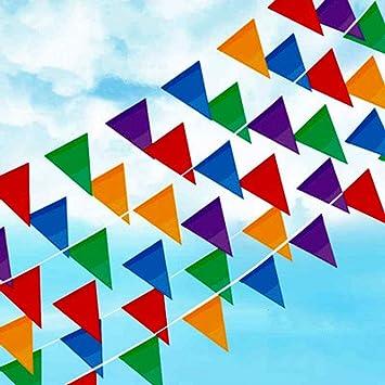 Joykey banderines multicolor 100M Nylon Bunting Banner Cadena trenzada del banderín de la bandera para la fiesta de cumpleaños de la boda decoración, 200 banderas del triángulo: Amazon.es: Juguetes y juegos