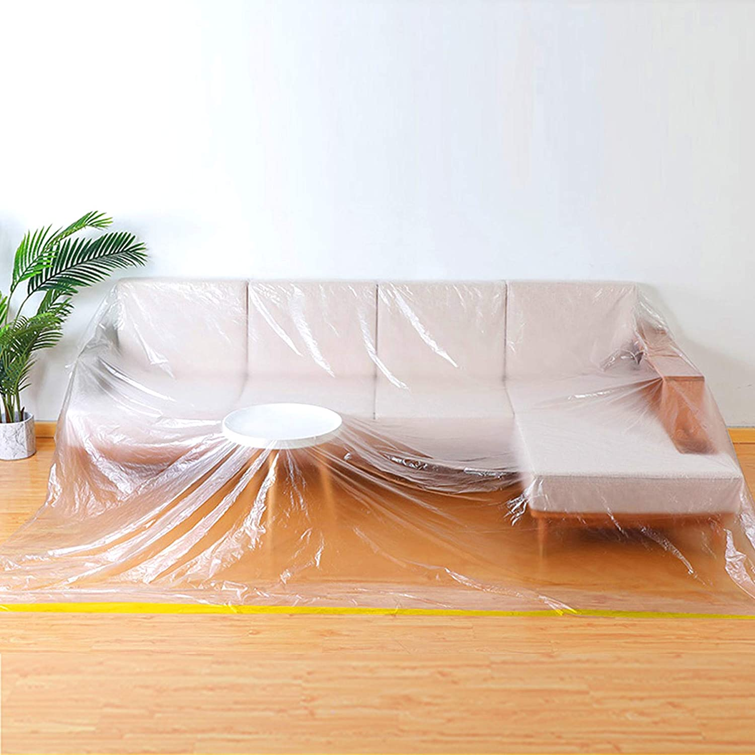 """146""""/12ft Plastic Cover, Plastic Waterproof Couch Cover, Extra Large Plastic Tarp Sofa Cover Durable Furniture Protection Cover Moving Supplies Packing Supplies JJZ21"""