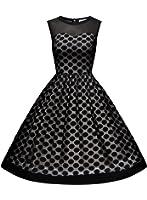 MissMay Women's Retro Polka Dot Sleeveless Hebburn Evening Party Swing Dress