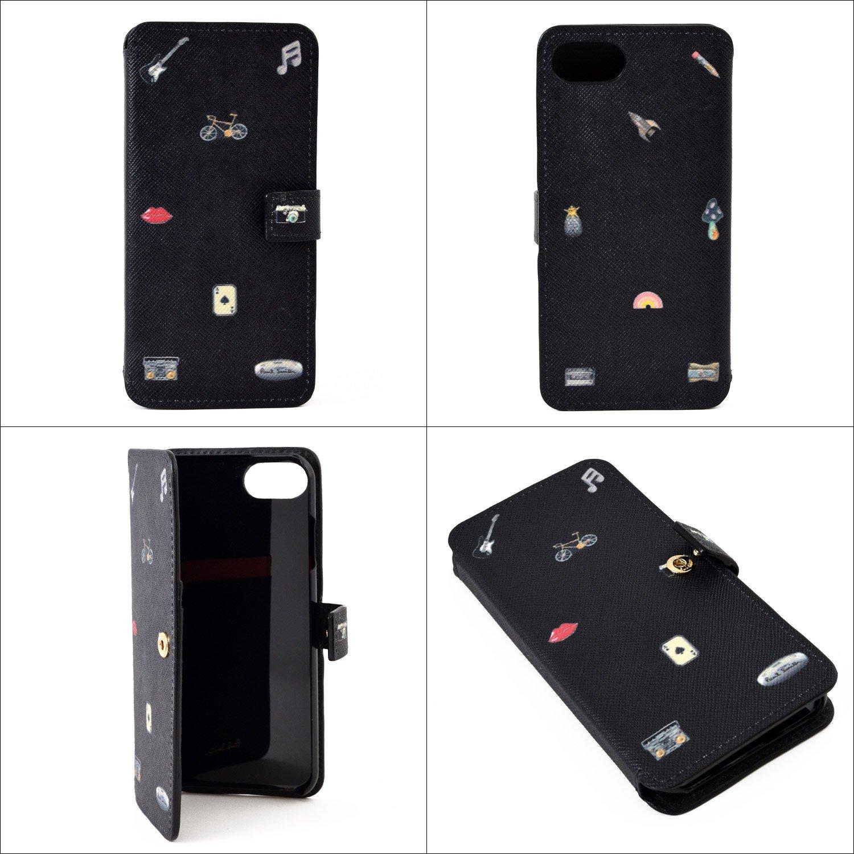 5fdb19dc6e Amazon | ポールスミス Paul Smith 正規品 レザー カフリンク チャームプリント iPhone 7 ケース スマホケース 本革  手帳型 (ブラック) | ケース・カバー 通販