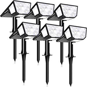 OTHWAY Solar Spotlights Outdoor,39 LEDS Solar Landscape Lights with 2 Lighting Modes 330°Wide Angle Solar Powered Wall Lights, 2-in-1 Adjustable Wall Lights for Yard, Garage, Deck (Cold White, 6 Pack)