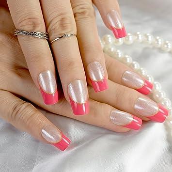 Amazon.com: Short Nails Simply Shiny Beige White False Nail Tips ...