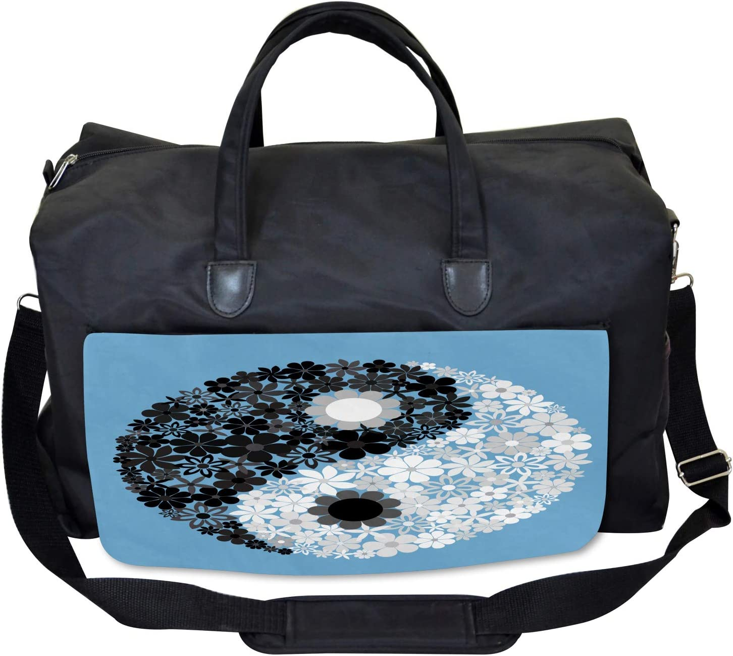 Large Weekender Carry-on Asian Tao Sign Floral Ambesonne Ying Yang Gym Bag