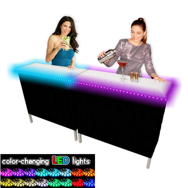 PartyPongTables.com Portable Folding Party Bar w/ LED Lights (Black & Hawaiian Bar Skirts) - Double Set
