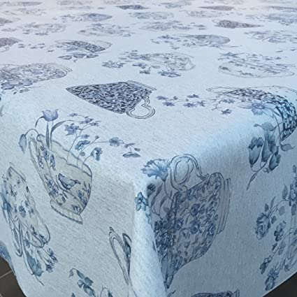 French vintage floral blue cabbage tea rose print wipe clean linen oilcloth
